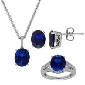 Created Blue Sapphire with Diamond Accent Set in Sterling Silver