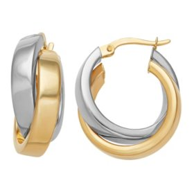 14K Crossover Hoop Earrings in Yellow and White Gold