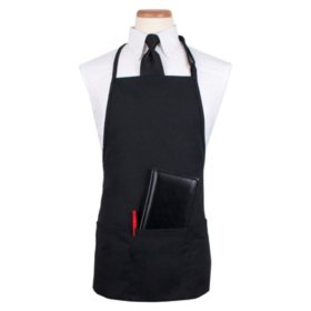 RITZ 4-Pocket Bib Serving Apron, Black