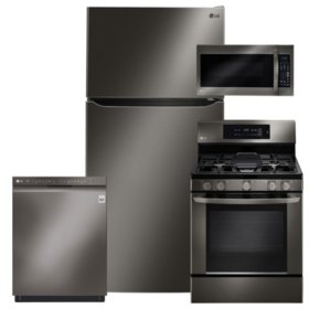 LG - LTCS24223D, LRG3061BD, LMV2031BD, LDF5545BD Black Stainless Steel Kitchen Suite (GAS)