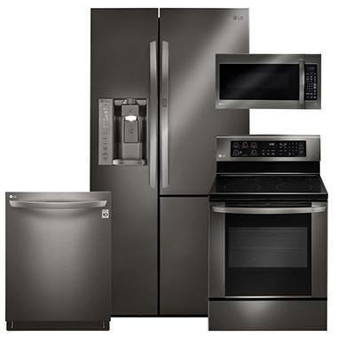 LG LSXS26366D, LRE3061BD, LMV2031BD, LDT5665BD Black Stainless Steel Kitchen Suite