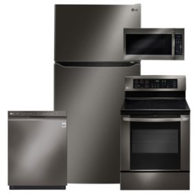 LG 4pc Kitchen Suite with Top Mount Refrigerator in Black Stainless Steel