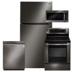 LG - LTCS24223D, LRE3061BD, LMV2031BD, LDF5545BD Black Stainless Steel Kitchen Suite