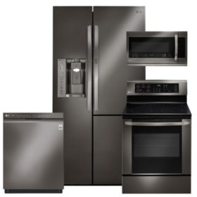 LG - Black Stainless Steel Kitchen Suite - LSXS26366D, LRE3061BD, LMHM2237BD, LDF5545BD