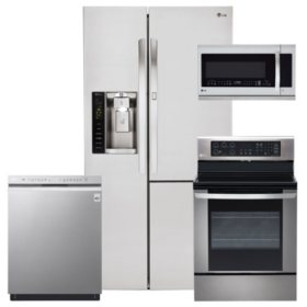 LG 4pc Kitchen Suite with Door-in-Door Refrigerator in Stainless Steel