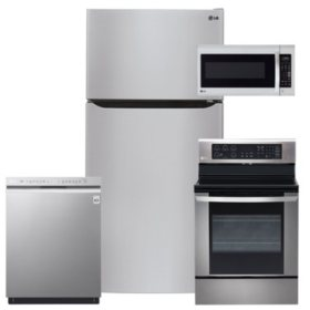 LG 4pc Kitchen Suite with Top Mount Refrigerator in Stainless Steel