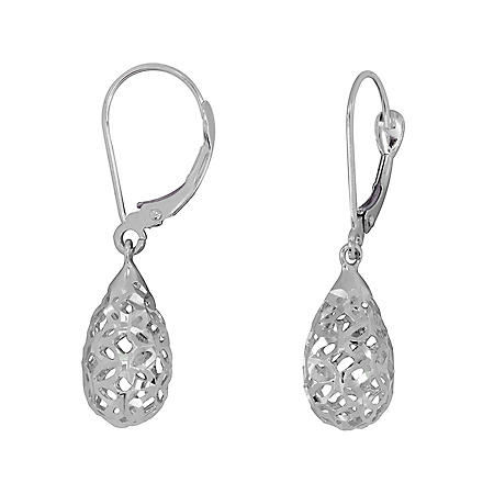 Diamond Cut Teardrop Dangle Earrings in 14K Gold