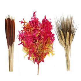 Fall Dried Floral Mix of Oak, Wheat and Cattails (15 bunches)
