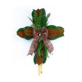 Magnolia Leaf Cross With Cedar, Wheat and Bow (2 ct.)
