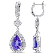 Allura 3.91 CT. TGW Pear-Cut Tanzanite and 1 CT. Diamond Teardrop Dangle Earrings in 14K White Gold