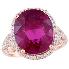 Allura 11.12 CT TGW Oval-Cut Natural Pink Tourmaline and 0.92 CT Diamond Halo Ring in 14K Rose Gold