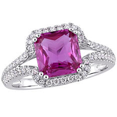Allura 2.50 CT. TGW Octagon-Cut Pink Sapphire and 0.36 CT. T.W. Diamond Split-Shank Halo Ring in 14K White Gold