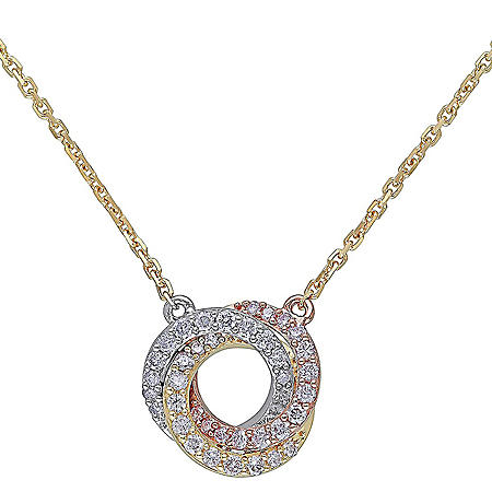 0.22 CT.T.W. Diamond Knot Necklace in 14k Tri-Color White, Yellow and Rose Gold