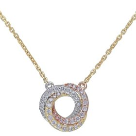 0.24 CT. T.W. Diamond Knot Necklace in 14K Tri-Color White, Yellow and Rose Gold