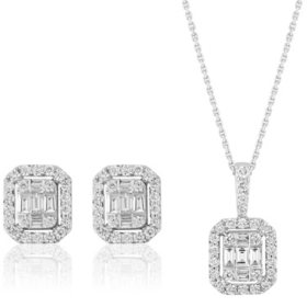 0.85 CT. T.W.  Diamond Pendant & Earring Set in 14K White Gold