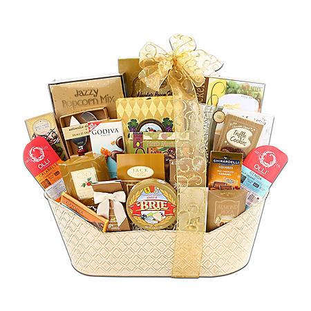 Executive Gourmet Gift Basket with Custom Printed Ribbon