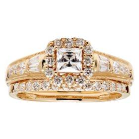 1.0 CT. T.W. Princess Diamond Halo Bridal Set in 14K Gold