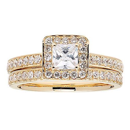 1.15 CT. T.W. Princess Diamond Bridal Set in 14K Gold