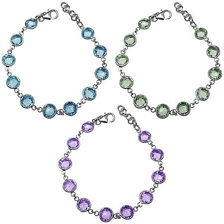 62 CT. T.W. Round 8MM Gemstone Bracelet Set