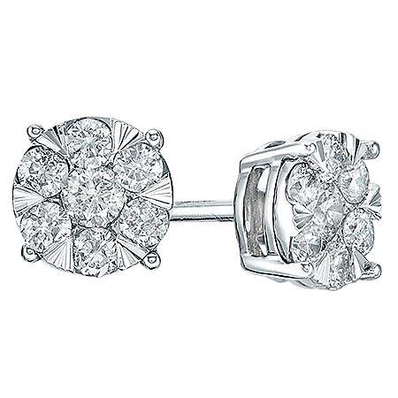 0.23 CT. T.W. Diamond Cluster Earrings in 14K White Gold