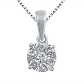 0.23 CT. T.W. Diamond Pendant in 14K White Gold