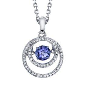 Dancing Tanzanite with .16 T.W. Diamond Pendant in Sterling Silver