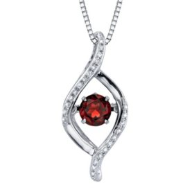 Dancing Garnet Diamond Accent Pendant in Sterling Silver