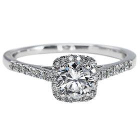 Premier Diamond Collection 1.02 CT. TW. Round Brilliant Diamond Double Halo Ring with Split Band in 14K White Gold- GIA & IGI (F, VS2)