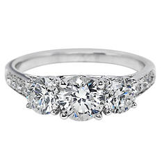 Premier Diamond Collection 2.10 CT. T.W. Three-Stone Round Brilliant Diamond Ring with Intertwining Prongs in 14K White Gold - IGI (G-H, I1)