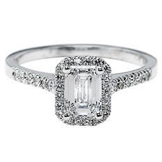 Premier Diamond Collection 1.26 CT. T.W. Emerald Diamond Halo Ring in 18K White Gold - GIA & IGI (D, SI1)