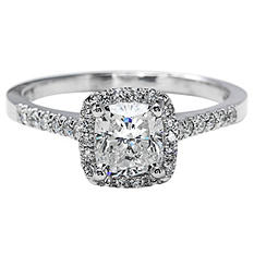 Premier Diamond Collection 1.30 CT. T.W. Cushion Diamond Halo Ring in 18K White Gold - GIA & IGI (G, VS2)