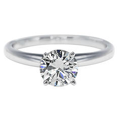 Premier Diamond Collection 1.01 CT. Round Brilliant Solitaire Diamond Ring in 18K White Gold – GIA & IGI (F, SI1)