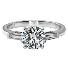 Premier Diamond Collection 1.82 CT. T.W. Round Brilliant Diamond Ring with Tapered Baguettes in Platinum - GIA & IGI (I, VVS2)