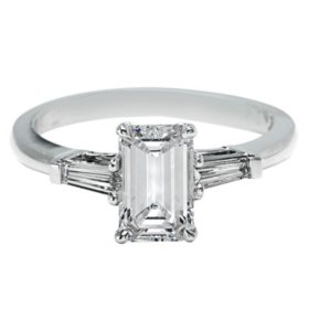 Premier Diamond Collection 1.51 CT. T.W. Emerald Cut Diamond Ring with Tapered Baguettes in 18K White Gold - GIA & IGI (D, VVS2)