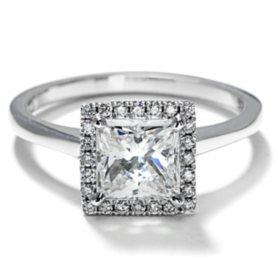 Premier Diamond Collection 1.84 CT. T.W. Princess Cut Diamond Halo Ring in 18K White Gold - GIA & IGI (F, VS2)
