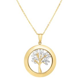 14 Karat Gold Two Tone Tree of Life Pendant
