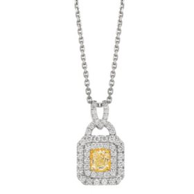 1.0 CT. T.W. Yellow and White Diamond Pendant in 14K Gold (I,SI2)