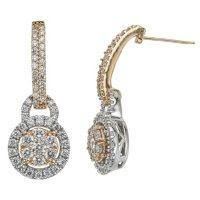0.98 CT. T.W. Diamond Earrings in 14K Two Tone Gold (I, I1)
