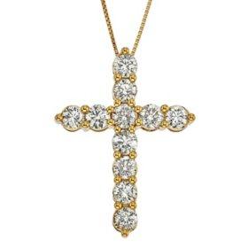 2.00 CT. T.W. Diamond Cross Pendant in 14K Gold (I, I1)