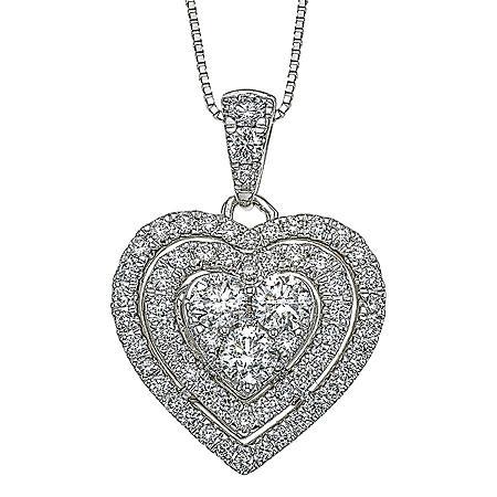 0.98 CT. T.W. Diamond Pendant in 14K White Gold (H-I, I1)