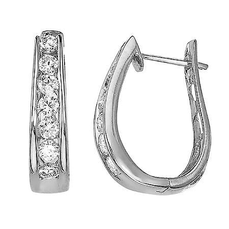 1.49 CT. T.W. Diamond Hoop Earrings in 14k White Gold (H-I, I1)