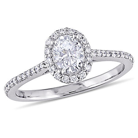 Allura 0.68 CT. Oval-Cut CT.T.W. Diamond Halo Engagement Ring in 14k White Gold