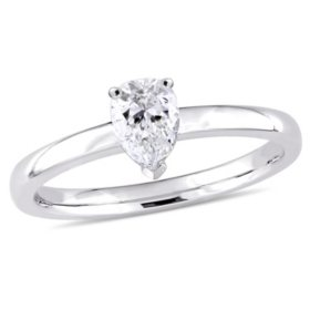 Allura 0.45 CT Pear-Cut Diamond Solitaire Engagement Ring in 14k White Gold