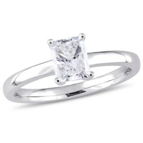 Allura 0.95 CT Radiant-Cut Diamond Solitaire Engagement Ring in 14k White Gold
