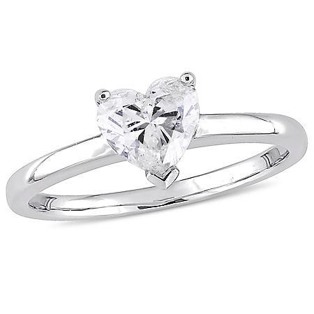 Allura 0.95 CT Heart-Cut Diamond Solitaire Engagement Ring in 14k White Gold