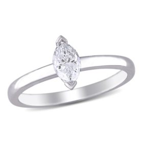 Allura 0.45 CT Marquise-Cut Diamond Solitaire Engagement Ring in 14k White Gold
