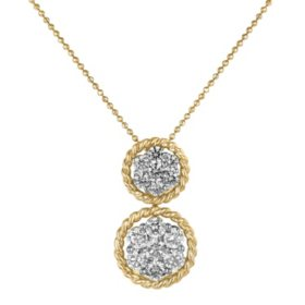 1.50 CT. T.W. Two-Tone Diamond Pendant in Twisted 14K Gold