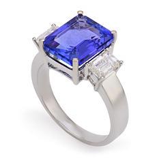 1.10 CT.T.W. Diamond 11x9mm Emerald Shaped Tanzanite Ring in 14K White Gold