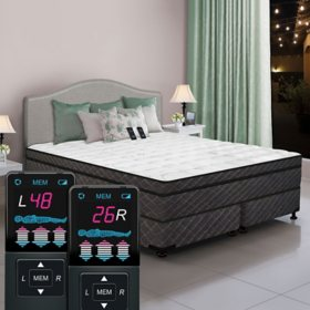 Dual Digital Reflections Eurostyle Queen Pillowtop Air Bed and Foundation Set