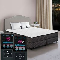 Dual Digital Princeton Low-Profile Tight Top California King Air Bed and Foundation Set